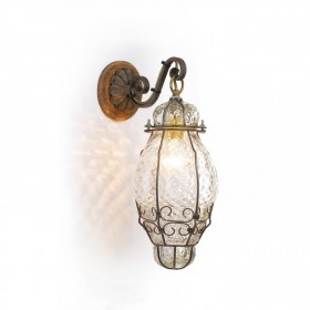 Lucerne lantern in Venetian blown glass within a cage of iron - H 28/35 cm