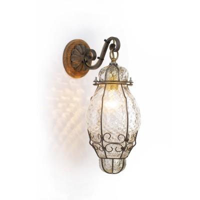 Lucerne lanterne en vénitien en verre soufflé dans une cage de fer – H 28 / 35 cm